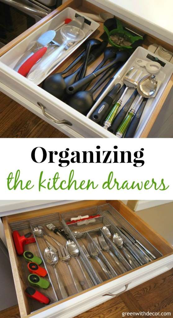 Green with decor organizing the kitchen drawers How to organize kitchen drawers