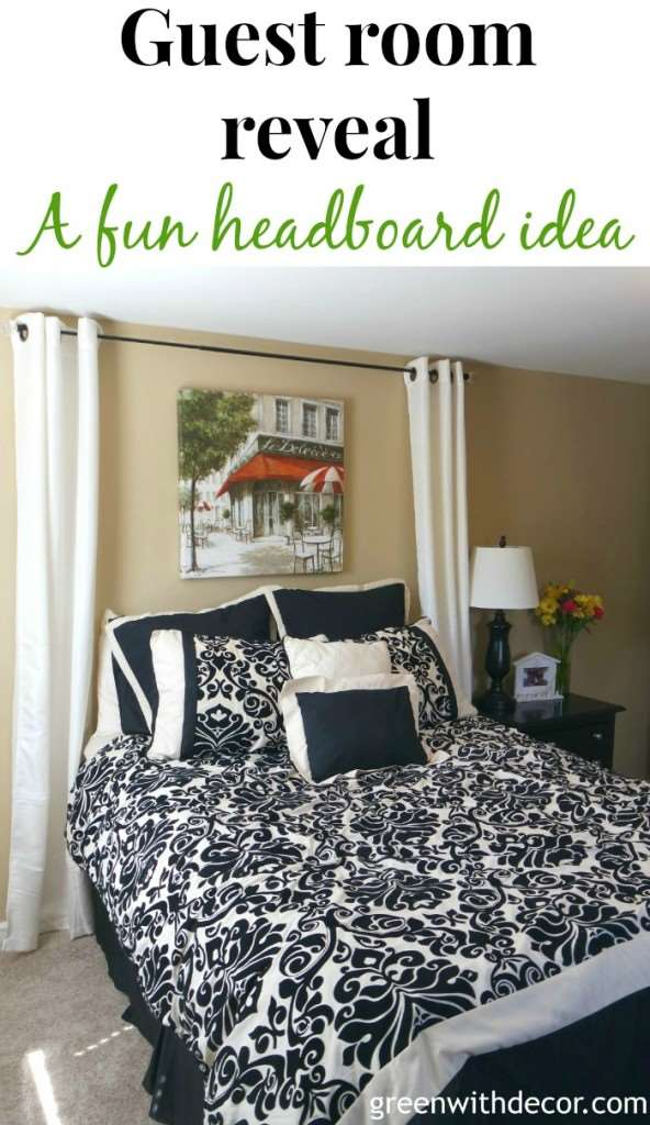 I love this guest room. What a pretty headboard idea! | Green With Decor