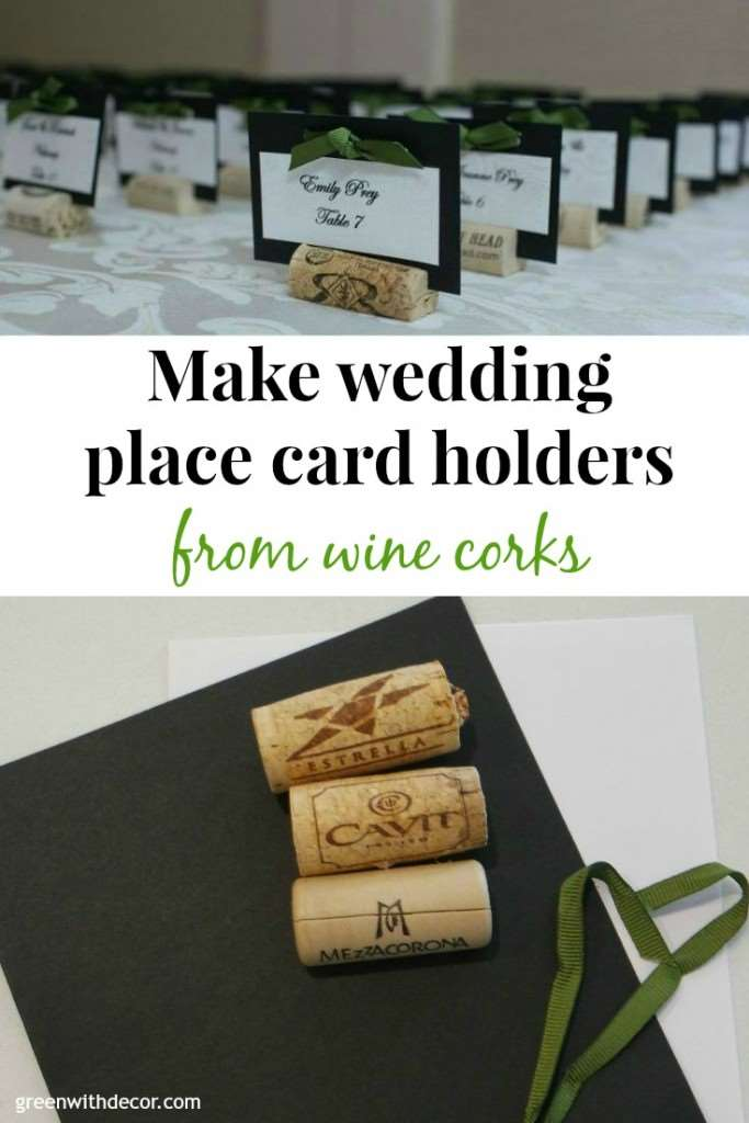 green with decor wedding place cards from wine corks