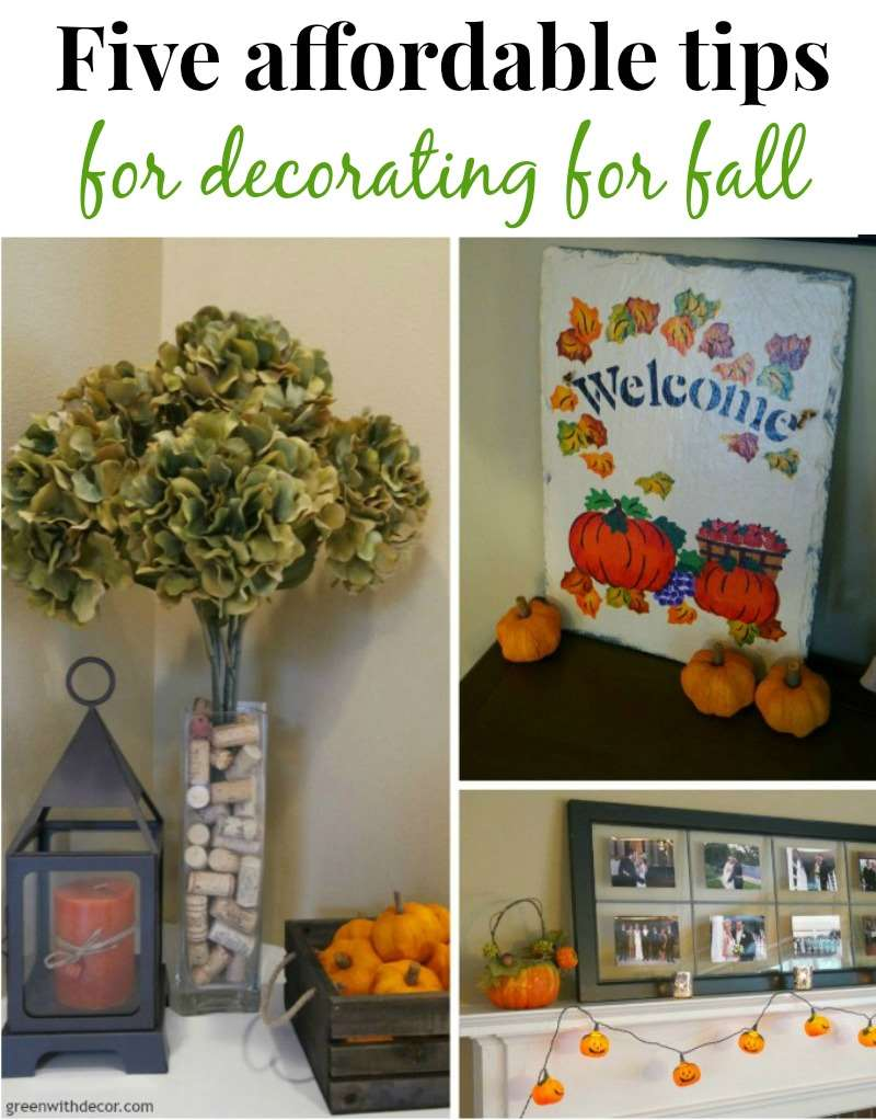 Five affordable tips for decorating for fall from Green With Decor. What fun ideas!