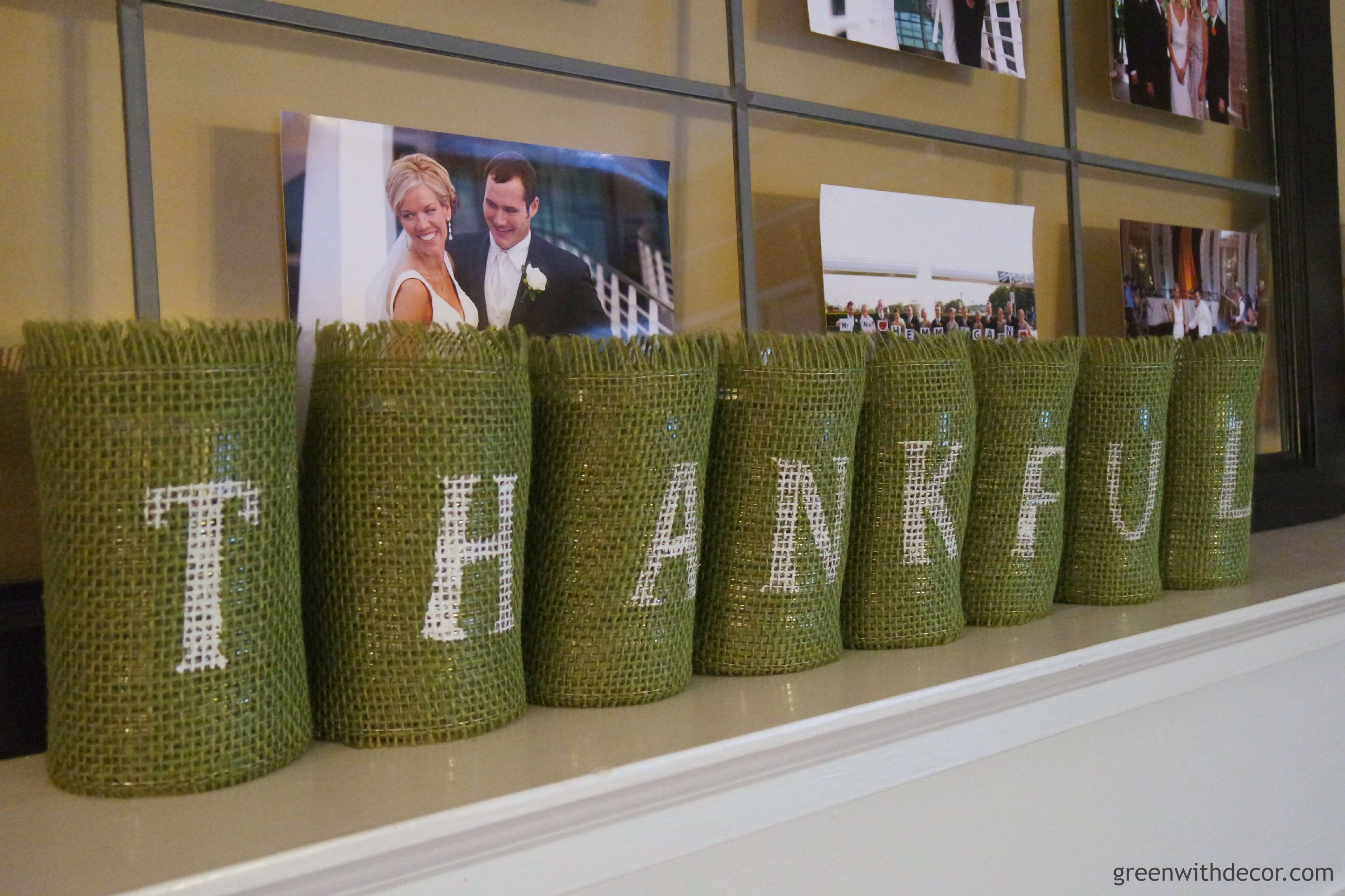 A Thanksgiving craft with those old soup cans. What a great idea! I love the green burlap, too. | Green With Decor