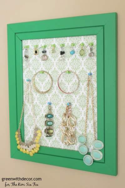 Transform an old frame into a pretty jewelry display