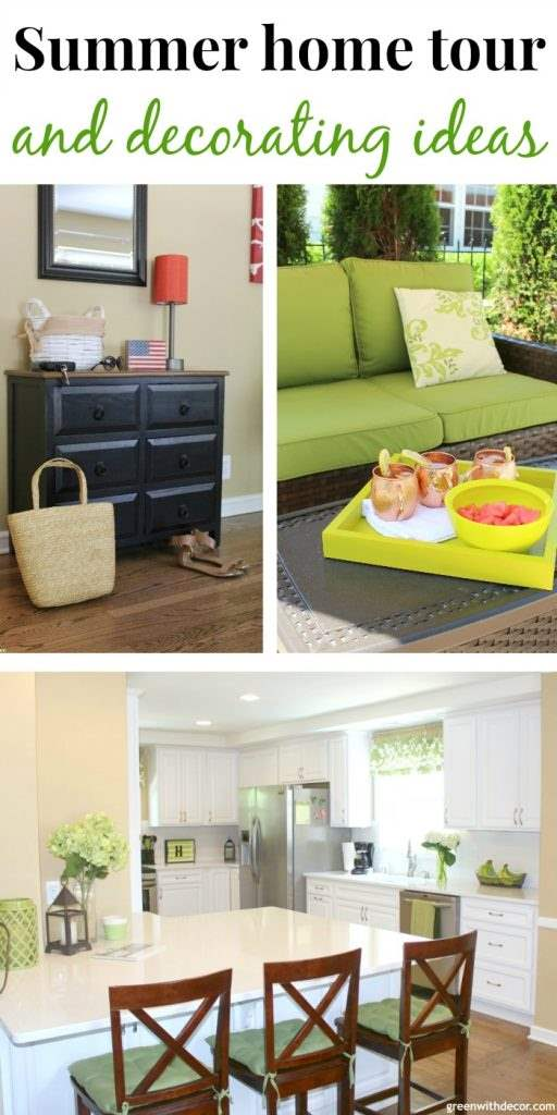 Green with decor summer home tour for Green decorations for home