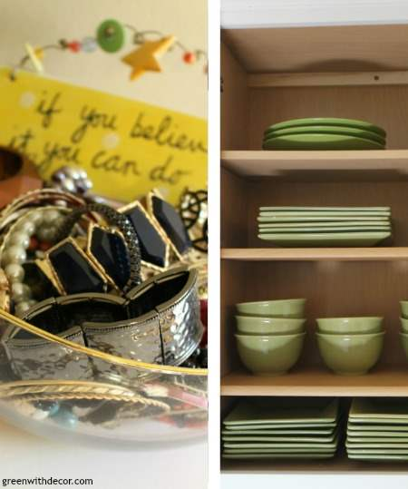 Get organized: More storage in the kitchen cabinets + organizing jewelry