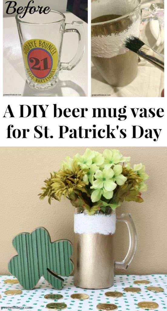 A DIY beer mug vase perfect for St. Patrick's Day! A DIY project with paint and an old beer mug. So festive!